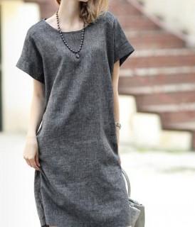 Lininė laisvo stiliaus suknelė