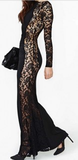 Ilga moteriška suknelė su neriniais