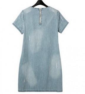 Džinsinė suknelė su perliukais