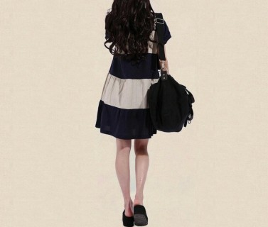 Lininė laisvo stiliaus dryžuota suknelė