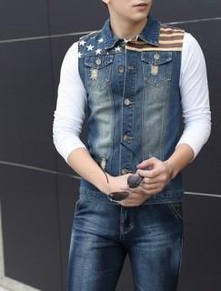 Stilinga vyriška džinsinė liemenė