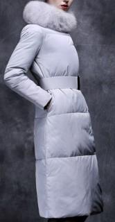 Ilgas paltas su kailine apykakle