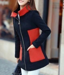Moteriškas dviejų spalvų paltas su užtrauktuku