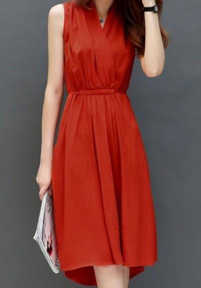 Elegantiška raudona medvilninė suknelė